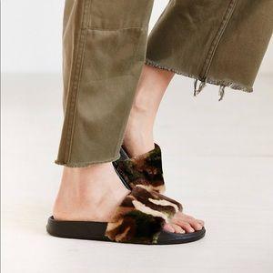 Camo Fur Slides